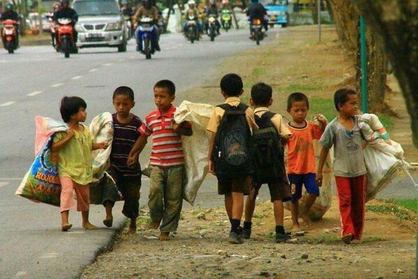 Boys Walking to Work beside Boys Walking to School