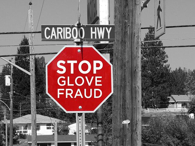 Stop Glove Fraud Stop Sign