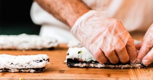 Vinyl Glove Handling Sushi