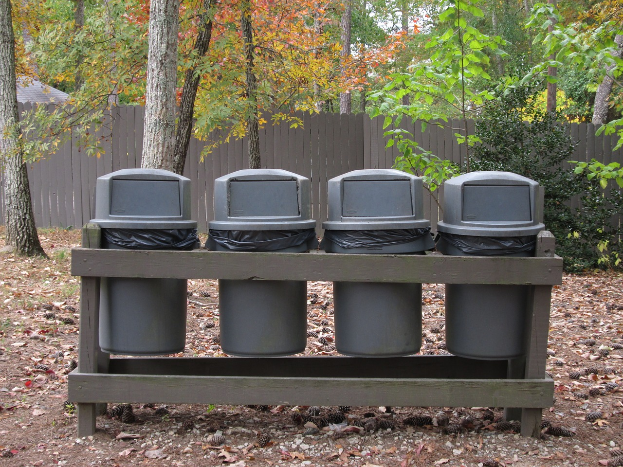 Row of Trash Cans